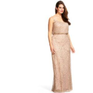 Adriana Papell- Taupe/Pink beaded gown